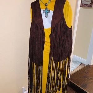 Chocolate Brown Suede Vest with Fringe